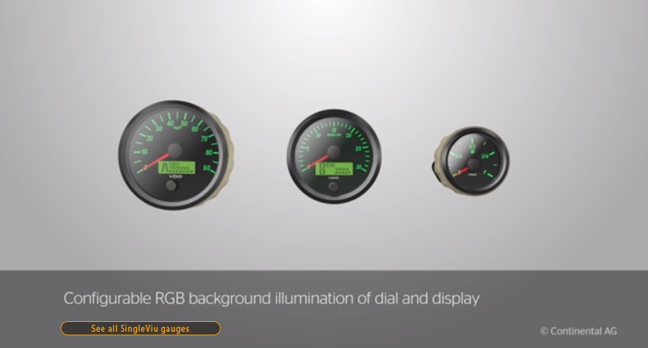 Continental/VDO SingleViu gauges offer a standardized, flexible, and robust solution suitable for all markets, whether commercial vehicles, motorcycles or stationary machinery.